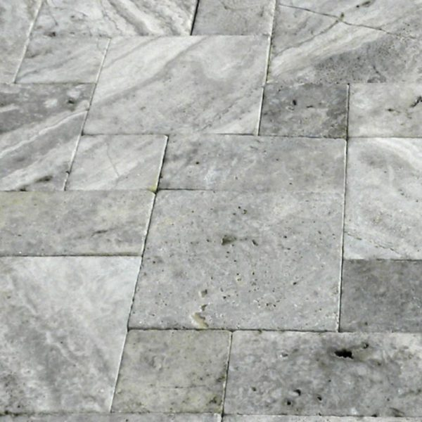 Silver Travertine Paver Roman Pattern Tumbled 6 Gray White Outdoor Floor Wall Pool Patio Backyard Tub Shower Vanity QDIsurfaces