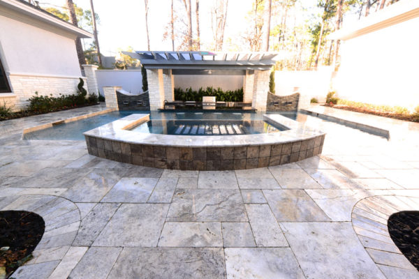 Silver Travertine Paver Versailles Pattern Tumbled 4 Gray White Outdoor Floor Wall Pool Patio Backyard Tub Shower Vanity QDIsurfaces