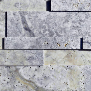 Silver Travertine Stack Stone Wall Cladding Panel Beige Cream Gray White Indoor Outdoor Wall Backsplash Tub Shower Vanity QDIsurfaces