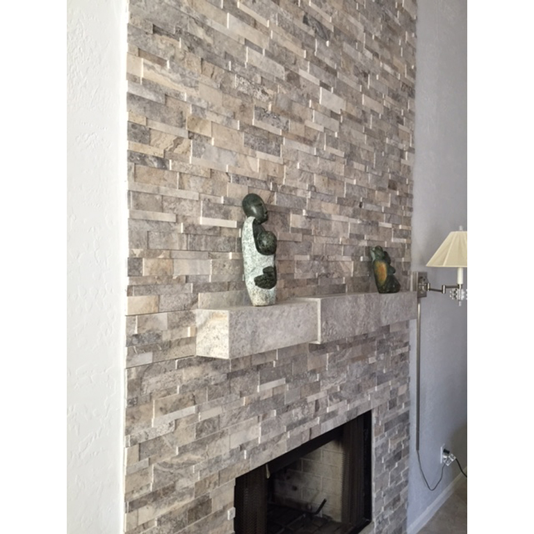 Silver Travertine Stack Stone Wall Cladding Panel Z Pattern 2 Beige Cream  Gray White Indoor Outdoor