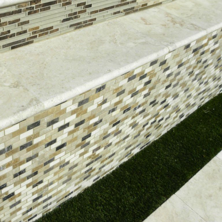 Sonoran Pearl Marble Pool Coping 12x24 Tumbled 2 Beige Cream Outdoor Floor Wall Pool Patio Backyard QDIsurfaces