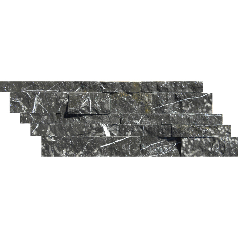 Taurus Black Marble Mosaic Tile Z Pattern Split Face Black White Indoor Floor Wall Backsplash Tub Shower Vanity QDIsurfaces