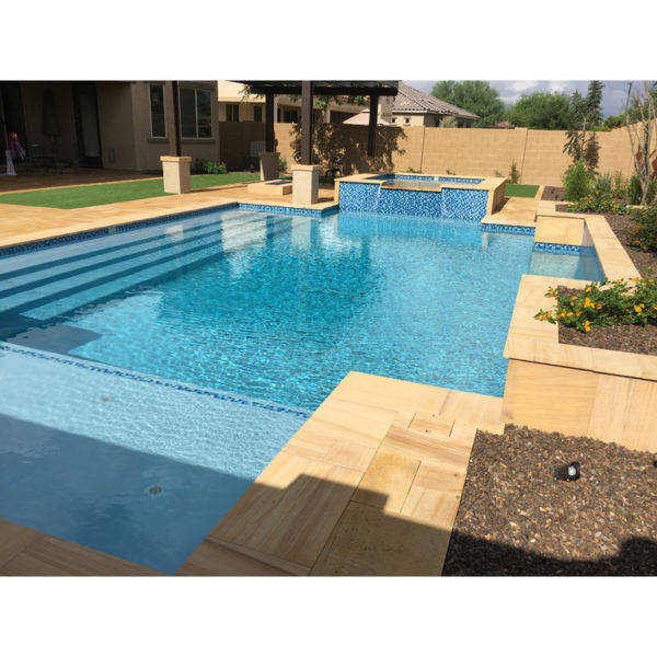 Teakwood Sandstone Paver Versailles Pattern Sandblasted 14 Tan Brown Beige Cream Outdoor Floor Wall Pool Patio Backyard QDIsurfaces