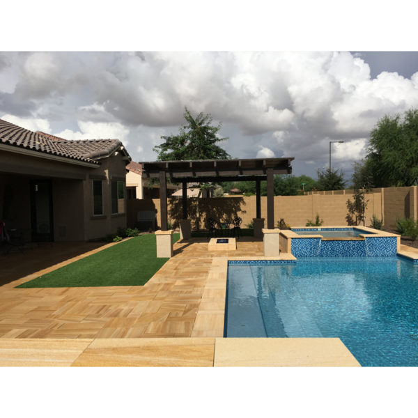 Teakwood Sandstone Paver Versailles Pattern Sandblasted 15 Tan Brown Beige Cream Outdoor Floor Wall Pool Patio Backyard QDIsurfaces