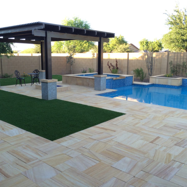 Teakwood Sandstone Paver Versailles Pattern Sandblasted 16 Tan Brown Beige Cream Outdoor Floor Wall Pool Patio Backyard QDIsurfaces
