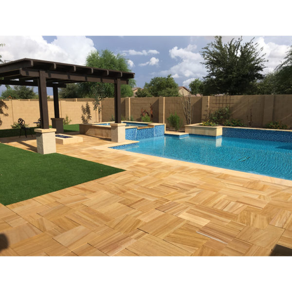 Teakwood Sandstone Paver Versailles Pattern Sandblasted 26 Tan Brown Beige Cream Outdoor Floor Wall Pool Patio Backyard QDIsurfaces
