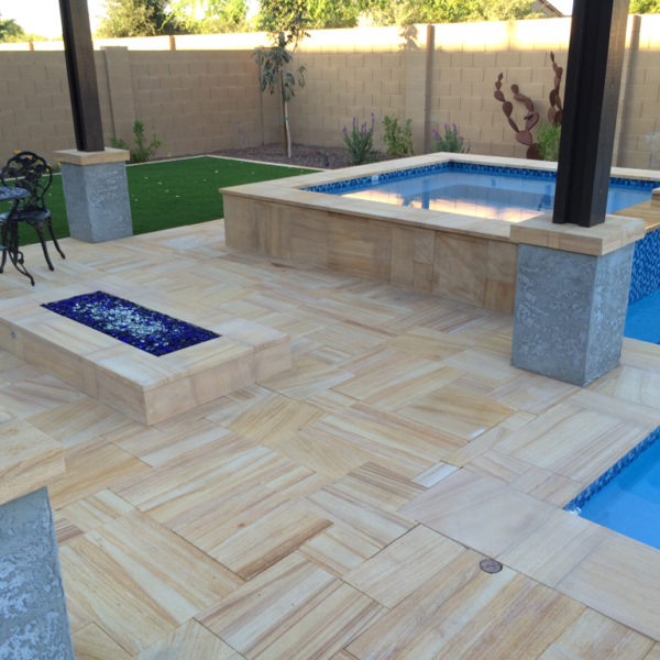 Teakwood Sandstone Paver Versailles Pattern Sandblasted 33 Tan Brown Beige Cream Outdoor Floor Wall Pool Patio Backyard QDIsurfaces