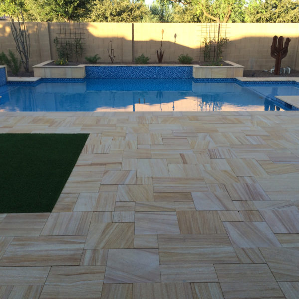 Teakwood Sandstone Paver Versailles Pattern Sandblasted 5 Tan Brown Beige Cream Outdoor Floor Wall Pool Patio Backyard QDIsurfaces