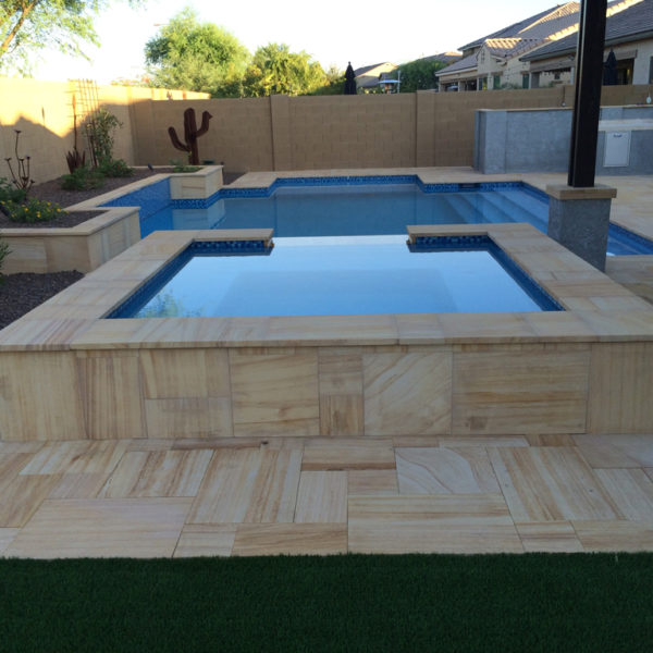 Teakwood Sandstone Paver Versailles Pattern Sandblasted 7 Tan Brown Beige Cream Outdoor Floor Wall Pool Patio Backyard QDIsurfaces