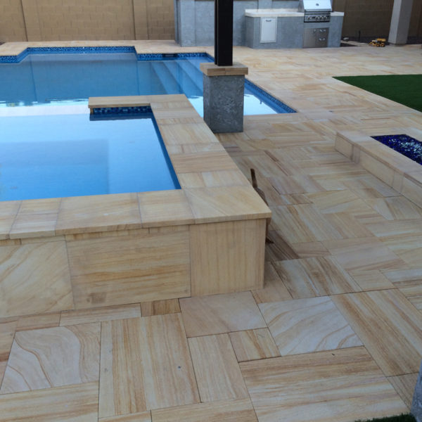 Teakwood Sandstone Paver Versailles Pattern Sandblasted 8 Tan Brown Beige Cream Outdoor Floor Wall Pool Patio Backyard QDIsurfaces