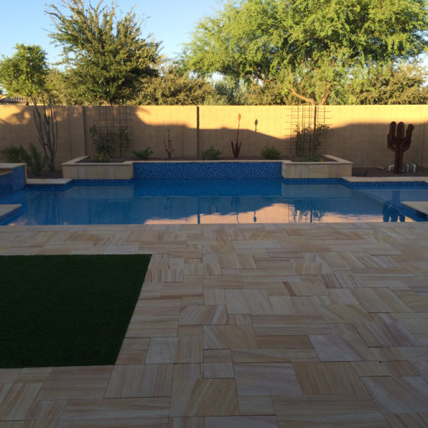 Teakwood Sandstone Paver Versailles Pattern Sandblasted 9 Tan Brown Beige Cream Outdoor Floor Wall Pool Patio Backyard QDIsurfaces