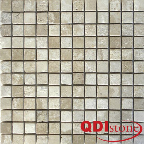 Tufa Limestone Mosaic Tile 1x1 Tumbled Gray White Beige Cream Indoor Floor Wall Backsplash Tub Shower Vanity QDIsurfaces