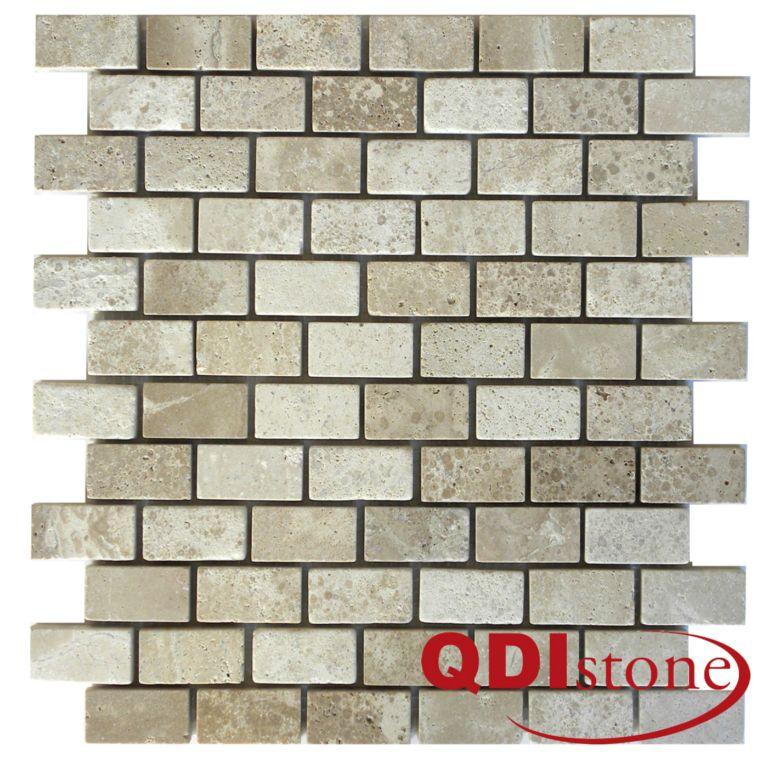 Tufa Limestone Mosaic Tile 1x2 Tumbled Gray White Beige Cream Indoor Floor Wall Backsplash Tub Shower Vanity QDIsurfaces