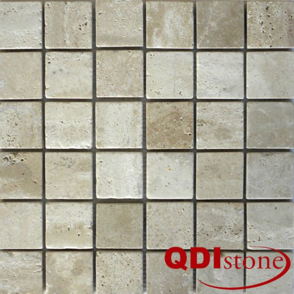 Tufa Limestone Mosaic Tile 2x2 Tumbled Gray White Beige Cream Indoor Floor Wall Backsplash Tub Shower Vanity QDIsurfaces