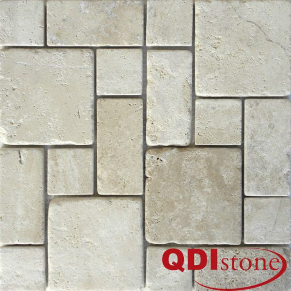 Tufa Limestone Mosaic Tile Mini Pattern Tumbled Gray White Beige Cream Indoor Floor Wall Backsplash Tub Shower Vanity QDIsurfaces