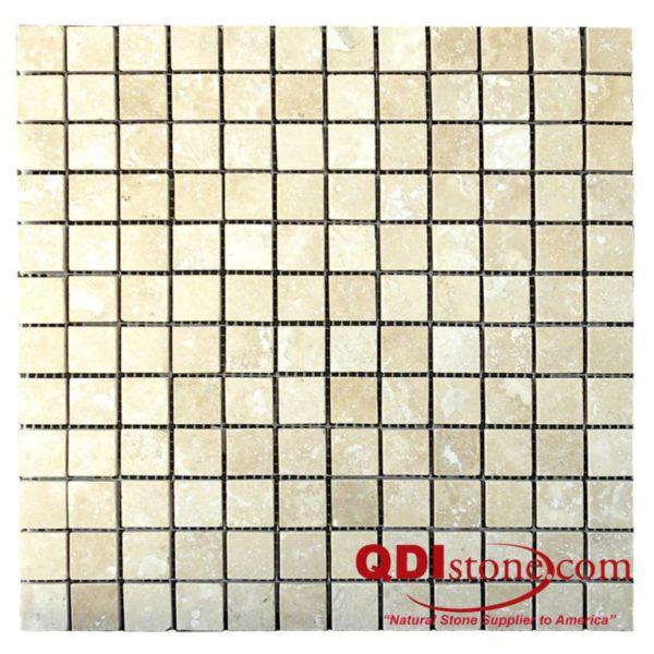 Walnut Travertine Mosaic Tile 1x1 Honed Tan Brown Beige Cream Gray White Indoor Floor Wall Backsplash Countertop Tub Shower Vanity QDI