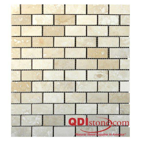 Walnut Travertine Mosaic Tile 1x2 Honed Tan Brown Beige Cream Gray White Indoor Floor Wall Backsplash Countertop Tub Shower Vanity QDI