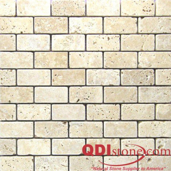 Walnut Travertine Mosaic Tile 1x2 Tumbled Tan Brown Beige Cream Gray White Indoor Floor Wall Backsplash Countertop Tub Shower Vanity QDI