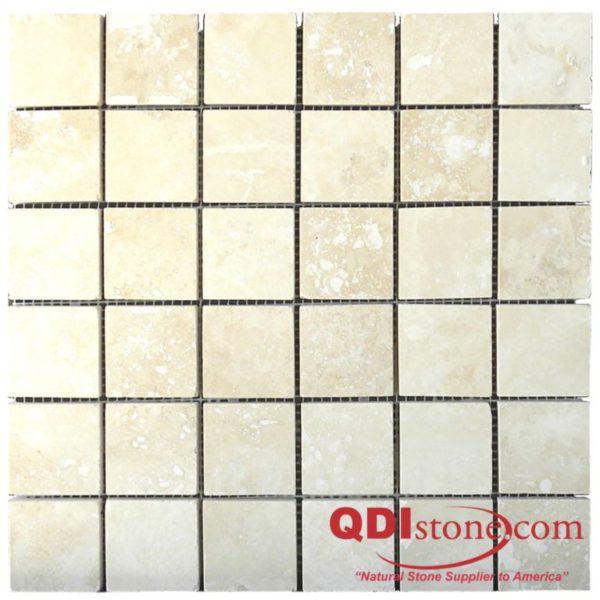 Walnut Travertine Mosaic Tile 2x2 Honed Tan Brown Beige Cream Gray White Indoor Floor Wall Backsplash Countertop Tub Shower Vanity QDI