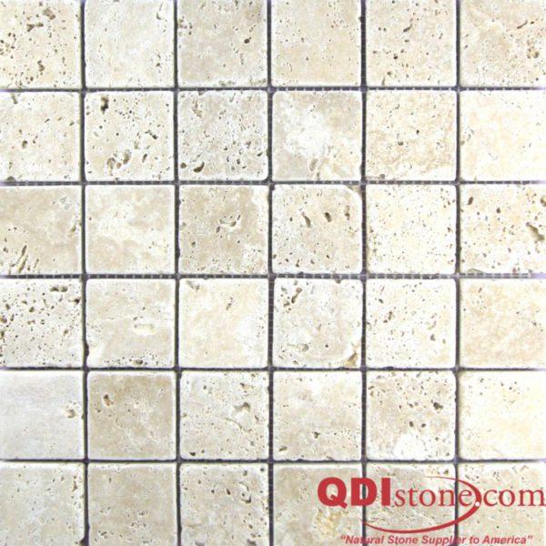 Walnut Travertine Mosaic Tile 2x2 Tumbled Tan Brown Beige Cream Gray White Indoor Floor Wall Backsplash Countertop Tub Shower Vanity QDI