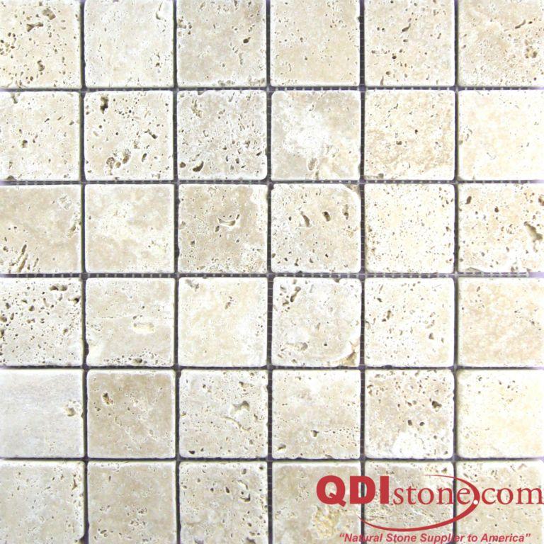 Walnut Travertine Mosaic Tile 2x2 Tumbled Tan Brown Beige Cream Gray White Indoor Floor Wall Backsplash