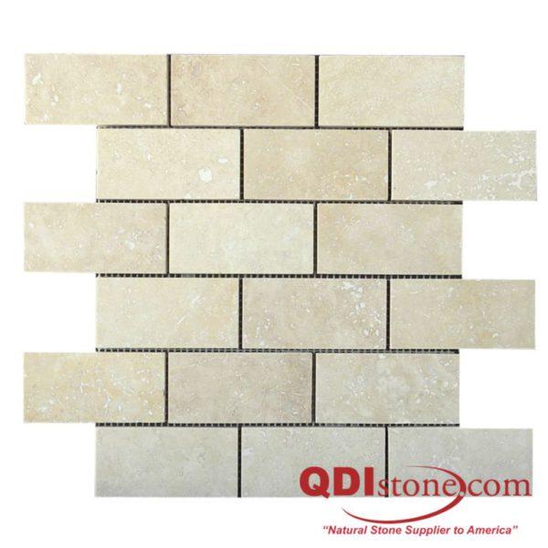 Walnut Travertine Mosaic Tile 2x4 Honed Tan Brown Beige Cream Gray White Indoor Floor Wall Backsplash Countertop Tub Shower Vanity QDI