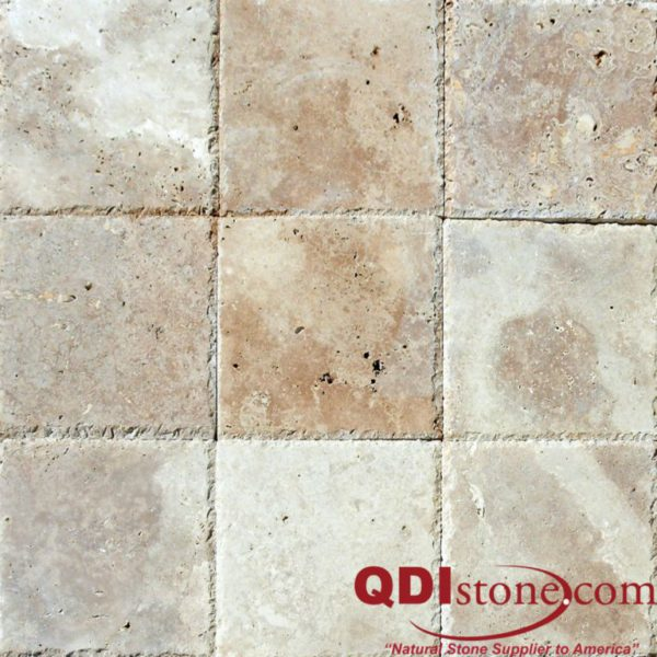 Walnut Travertine Paver 12x12 Unfilled Brushed Chiseled Edge Tan Brown Beige Cream Outdoor Floor Wall Pool Patio Backyard Tub Shower Vanity