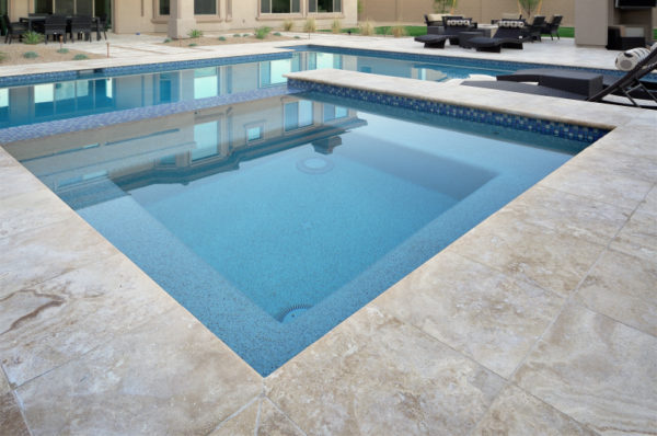 Walnut Travertine Paver 16x16 Tumbled 2 Tan Brown Beige Cream Outdoor Floor Wall Pool Patio Backyard Tub Shower Vanity QDIsurfaces