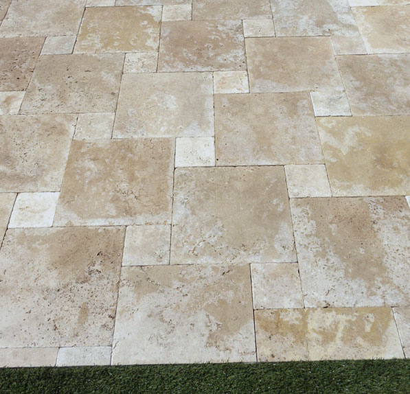 Walnut Travertine Paver 16x16 Tumbled Tan Brown Beige Cream Outdoor Floor Wall Pool Patio Backyard Tub Shower Vanity QDIsurfaces