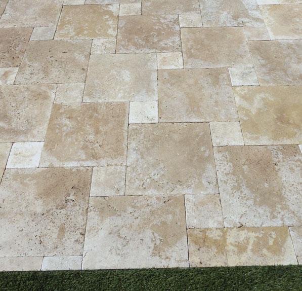 Walnut Travertine Paver 16x16 Tumbled Tan Brown Beige Cream Outdoor Floor Wall Pool Patio Backyard Tub Shower Vanity QDIsurfaces