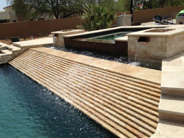 Walnut Travertine Paver 24x24 Tumbled 2 Tan Brown Beige Cream Outdoor Floor Wall Pool Patio Backyard Tub Shower Vanity QDIsurfaces