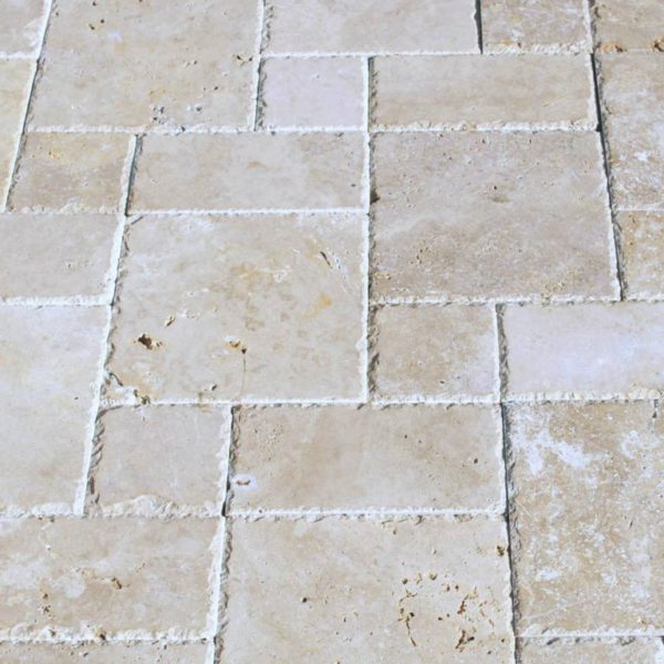 Walnut Travertine Paver 3pc Roman Pattern Unfilled Brushed Chiseled Edge Tan Brown Beige Cream Outdoor Floor Wall Pool Patio Backyard Tub
