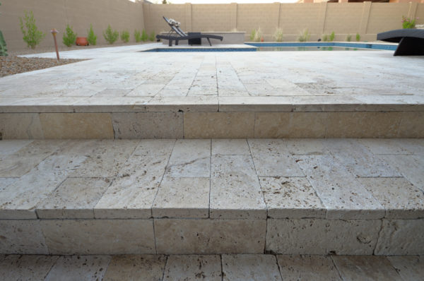Walnut Travertine Paver 6x12 Tumbled 23 Tan Brown Beige Cream Outdoor Floor Wall Pool Patio Backyard Tub Shower Vanity QDIsurfaces
