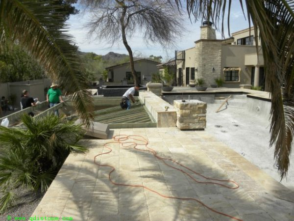 Walnut Travertine Paver 6x12 Unfilled Brushed Chiseled Edge 2 Tan Brown Beige Cream Outdoor Floor Wall Pool Patio Backyard Tub Shower Vanity