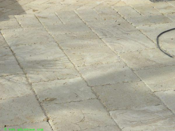 Walnut Travertine Paver 6x12 Unfilled Brushed Chiseled Edge 5 Tan Brown Beige Cream Outdoor Floor Wall Pool Patio Backyard Tub Shower Vanity