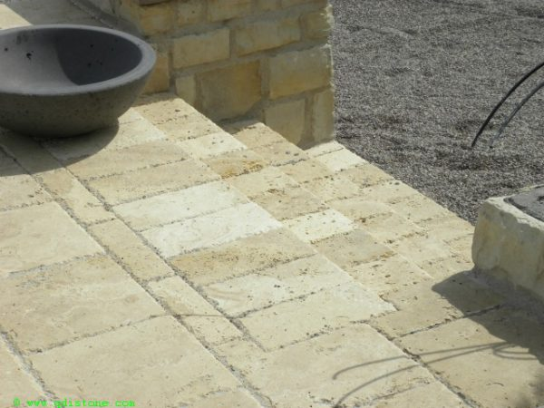 Walnut Travertine Paver 6x12 Unfilled Brushed Chiseled Edge 6 Tan Brown Beige Cream Outdoor Floor Wall Pool Patio Backyard Tub Shower Vanity