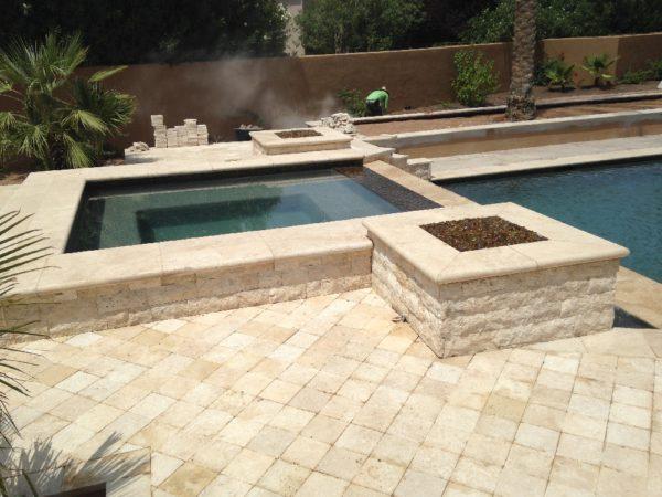 Walnut Travertine Paver 6x6 Tumbled Tan Brown Beige Cream Outdoor Floor Wall Pool Patio Backyard Tub Shower Vanity QDIsurfaces