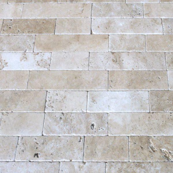 Walnut Travertine Paver Linear Pattern Tumbled Tan Brown Beige Cream Outdoor Floor Wall Pool Patio Backyard Tub Shower Vanity QDIsurfaces