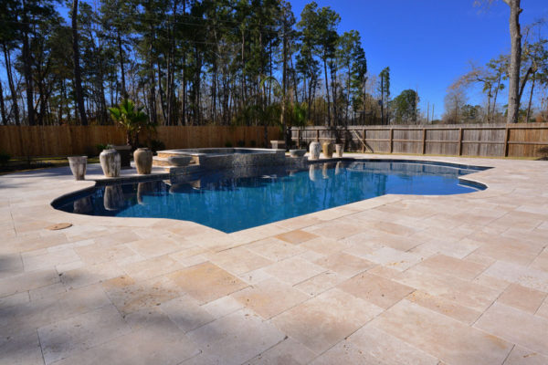 Walnut Travertine Paver Versailles Pattern Tumbled 4 Tan Brown Beige Cream Outdoor Floor Wall Pool Patio Backyard Tub Shower Vanity QDI
