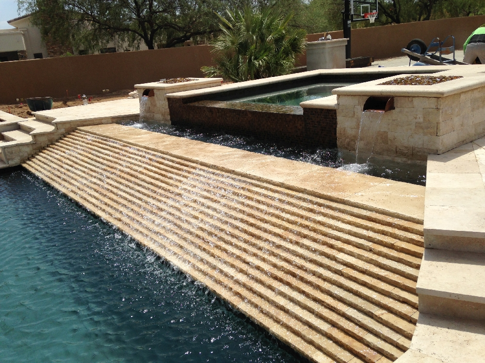 Walnut Travertine Single Bullnose Coping QDIsurfaces - Bullnose tiles for pools