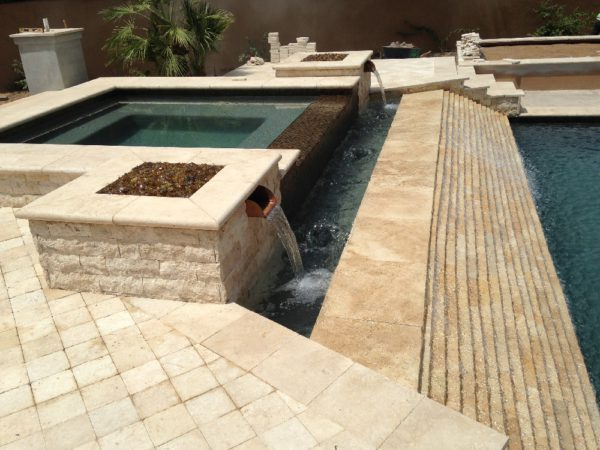 Walnut Travertine Pool Coping 12x24 5cm Tumbled 4 Tan Brown Beige Cream Gray White Outdoor Floor Wall Pool Patio Backyard Tub Shower Vanity