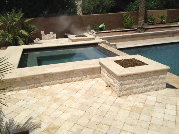 Walnut Travertine Pool Coping 12x24 5cm Tumbled Tan Brown Beige Cream Gray White Outdoor Floor Wall Pool Patio Backyard Tub Shower Vanity