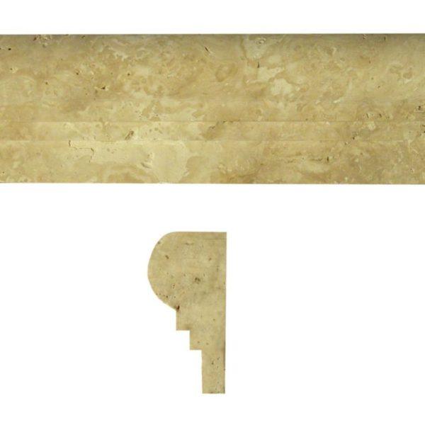 Walnut Travertine Trim Tile Double Ogee Honed Tan Brown Beige Cream Gray White Indoor Wall Backsplash Tub Shower Vanity QDIsurfaces