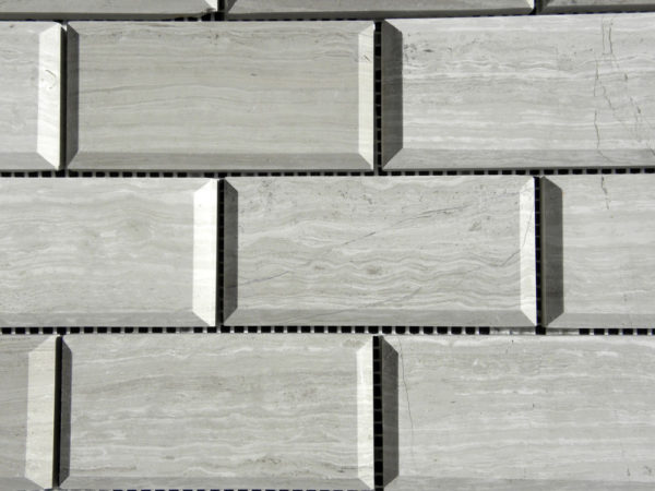 Wooden Gray Limestone Mosaic Tile 2x4 Polished with Pillow Edge 3 Gray White Indoor Floor Wall Backsplash Tub Shower Vanity QDI