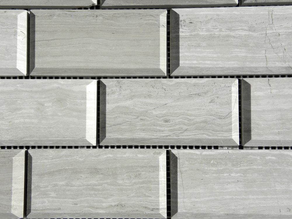 Wooden Gray Limestone Mosaic Tile 2x4 Polished with Pillow Edge 3 Gray White Indoor Floor Wall Backsplash Tub Shower Vanity QDI