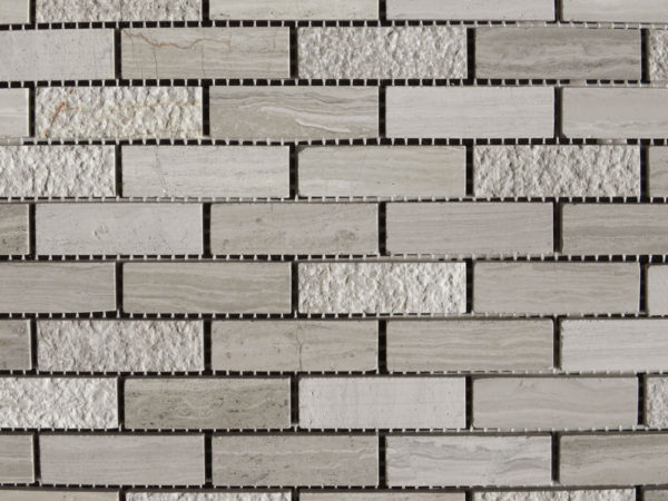 Wooden Gray Limestone Mosaic Tile 58x2 Honed Striated Bush Hammered 3 Gray White Indoor Floor Wall Backsplash Tub Shower Vanity QDI