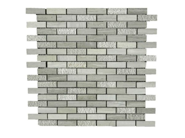 Wooden Gray Limestone Mosaic Tile 58x2 Honed Striated Bush Hammered Gray White Indoor Floor Wall Backsplash Tub Shower Vanity QDI