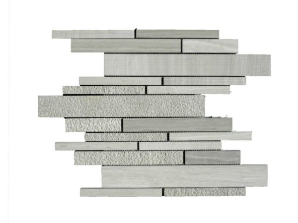 Wooden Gray Limestone Mosaic Tile Deco Strip Honed Striated Bush Hammered Gray White Indoor Floor Wall Backsplash Tub Shower Vanity