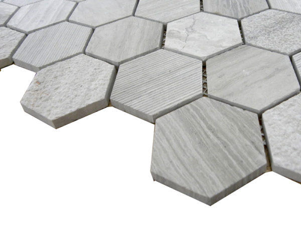 Wooden Gray Limestone Mosaic Tile Hexagon Honed Striated Bush Hammered 2 Gray White Indoor Floor Wall Backsplash Tub Shower Vanity QDI