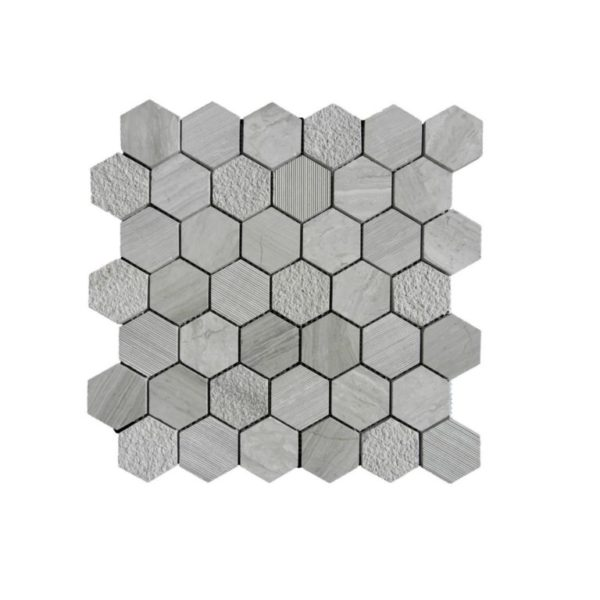 Wooden Gray Limestone Mosaic Tile Hexagon Honed Striated Bush Hammered Gray White Indoor Floor Wall Backsplash Tub Shower Vanity QDI